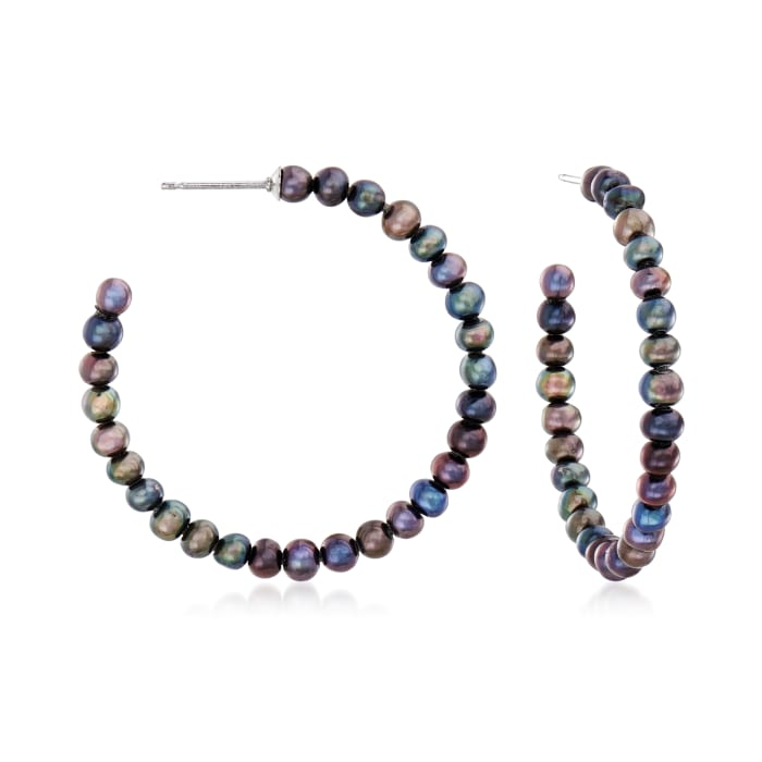 3-3.5mm Black Cultured Pearl C-Hoop Earrings in Sterling Silver