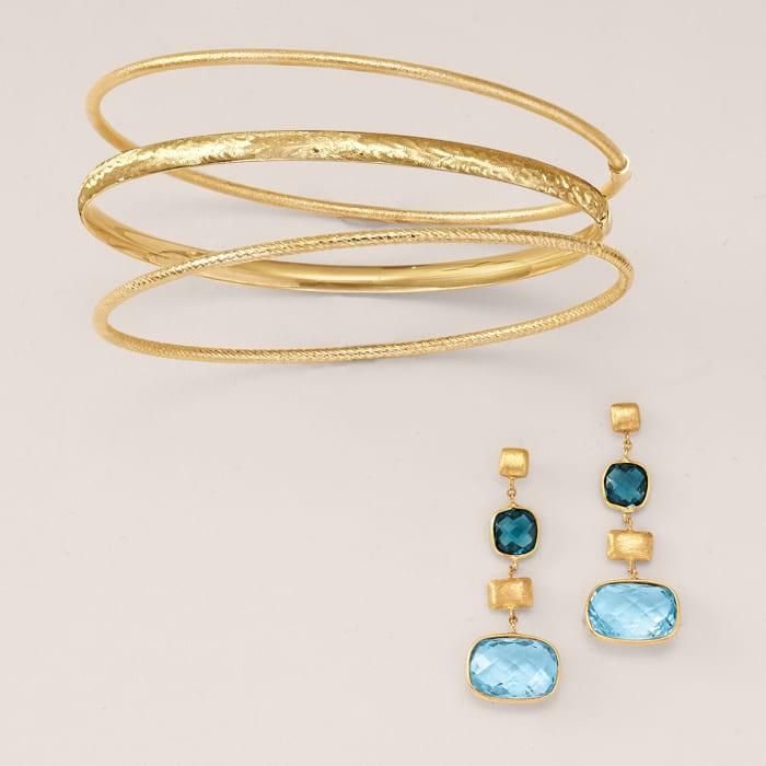 Italian 14kt Yellow Gold Roped Bangle Bracelet