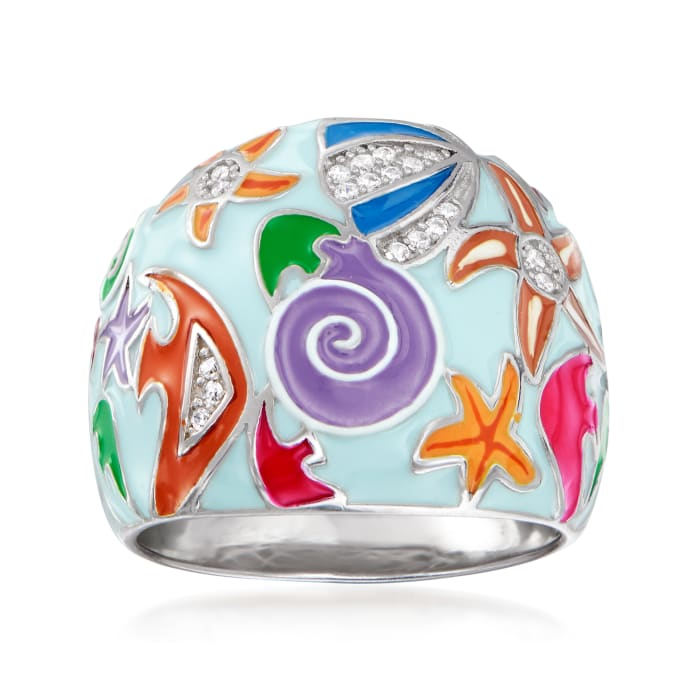 .10 ct. t.w. White Topaz and Multicolored Enamel Sea Life Ring in Sterling Silver