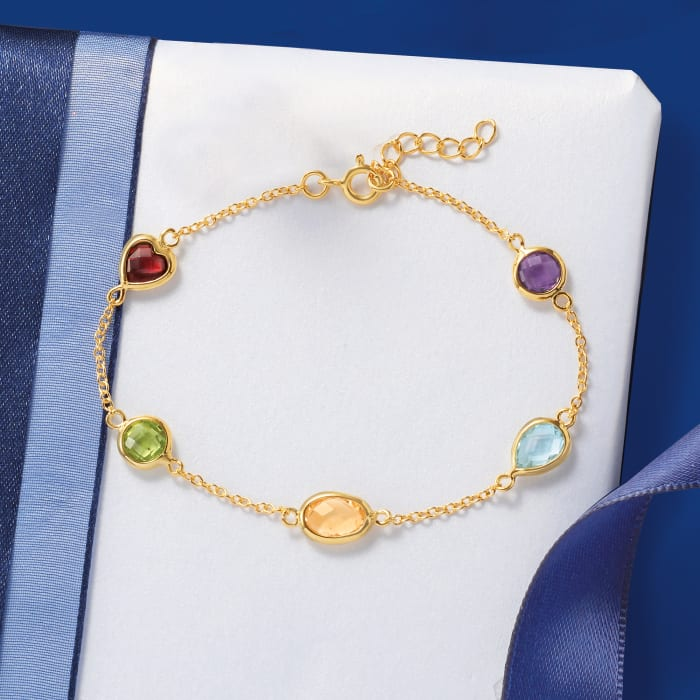 5.50 ct. t.w. Multi-Gemstone Station Bracelet in 18kt Gold Over Sterling