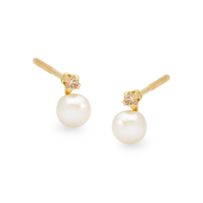Child's 4mm Cultured Pearl Earrings with Diamond Accents in 14kt Yellow Gold