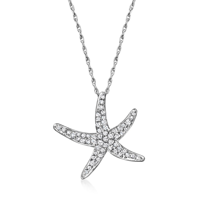 .25 ct. t.w. Starfish Pendant Necklace in Sterling Silver