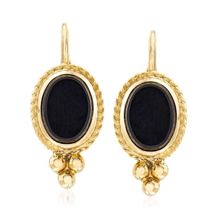 Black Onyx Twist-Edge Earrings in 14kt Yellow Gold