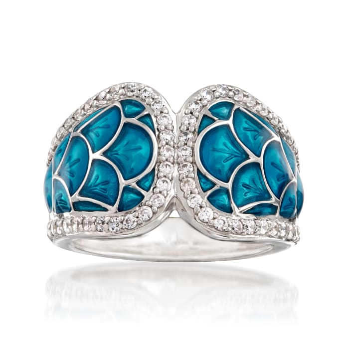 """Belle Etoile """"Marina"""" Sea-Blue Enamel and .95 ct. t.w. CZ Ring in Sterling Silver"""