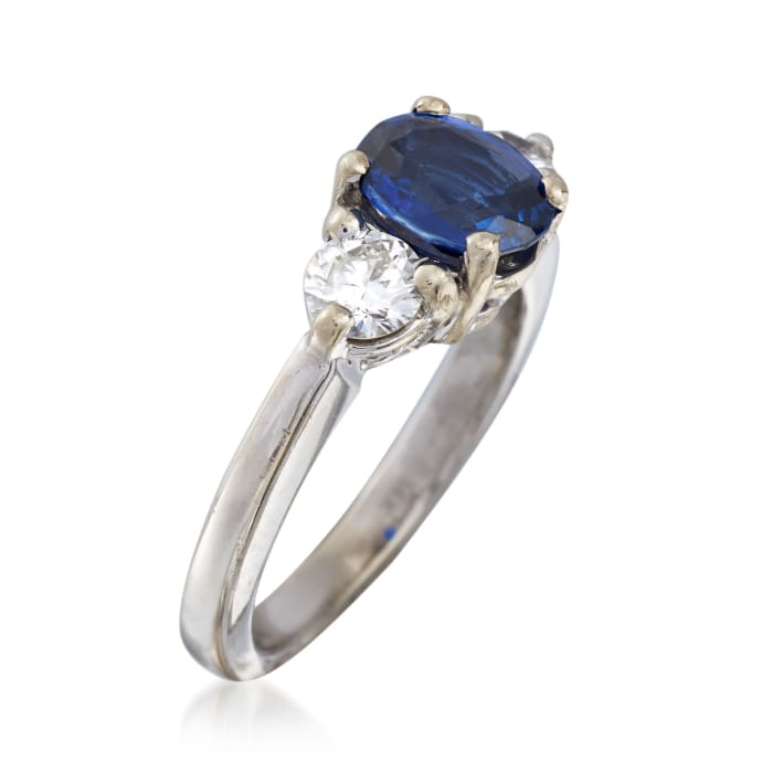 C. 2000 Vintage 1.15 Carat Sapphire and .50 ct. t.w. Diamond Ring in 14kt White Gold