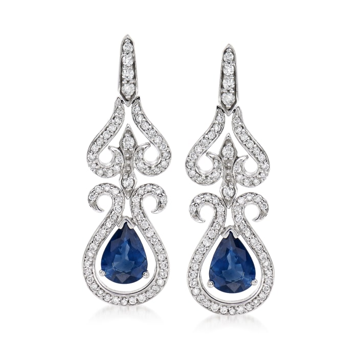 2.30 ct. t.w. Sapphire and .99 ct. t.w. Diamond Drop Earrings in 14kt White Gold