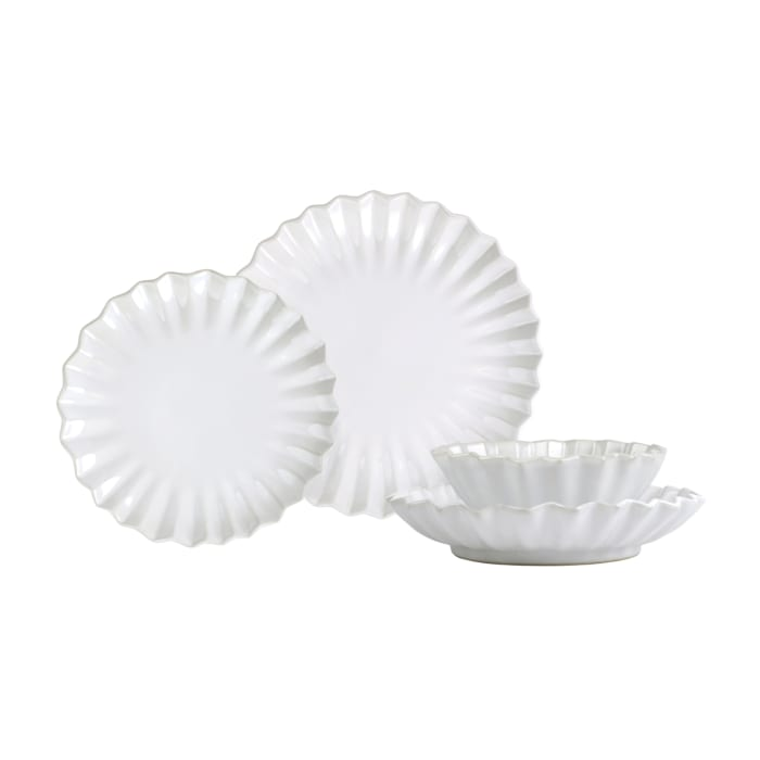 """Vietri """"Incanto Stone"""" White Pleated 4-pc. Place Setting from Italy"""
