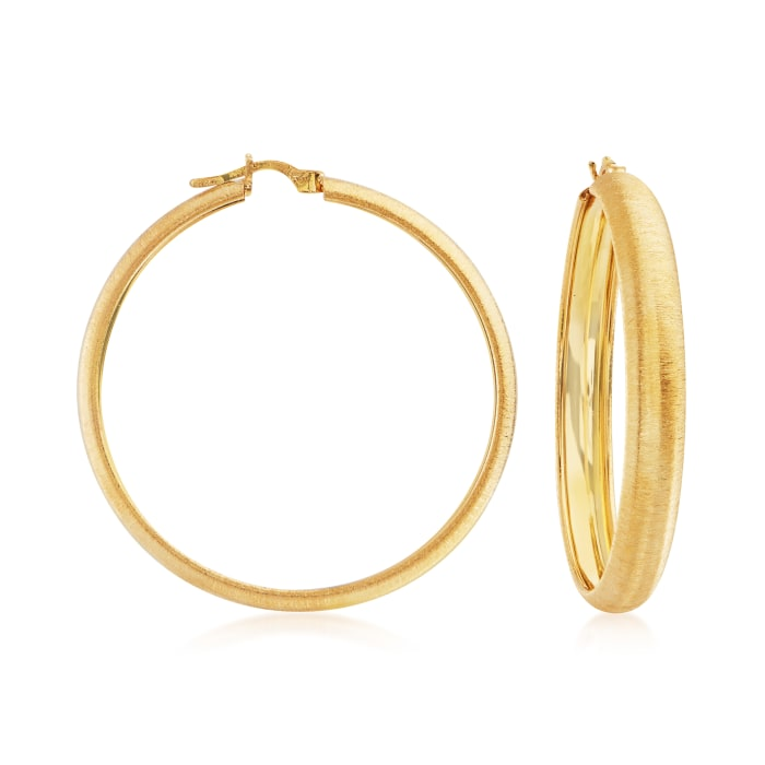 Italian 18kt Gold Over Sterling Textured Hoop Earrings