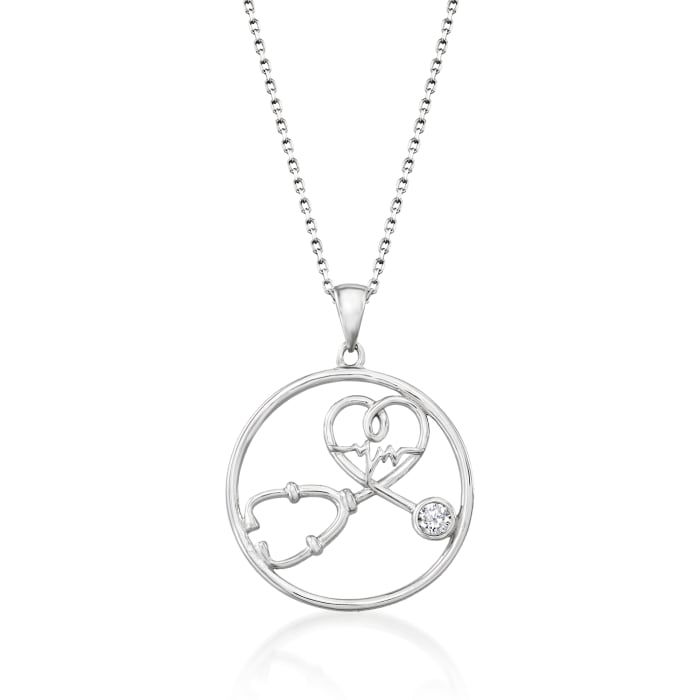 .10 Carat CZ Stethoscope Pendant Necklace in Sterling Silver