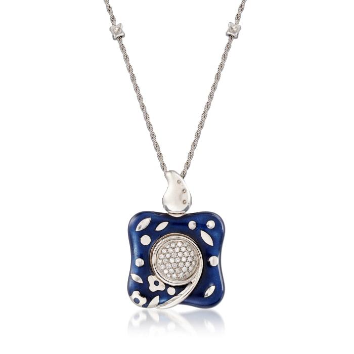 C. 1990 Vintage Nouvelle Bague .55 ct. t.w. Diamond Pendant Necklace in 18kt White Gold