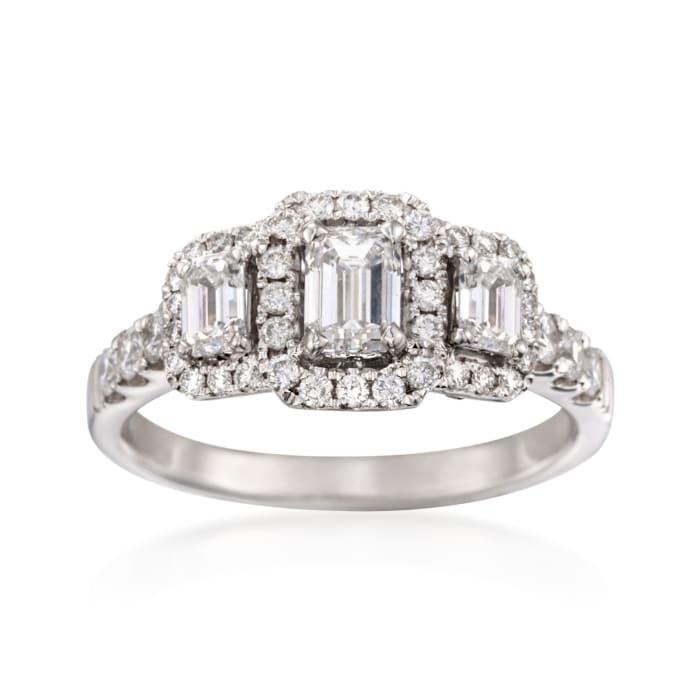1.42 ct. t.w. Emerald-Cut Diamond Three-Stone Halo Ring in 14kt White Gold