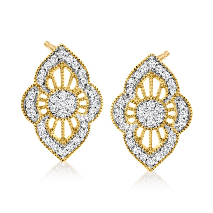 .50 ct. t.w. Diamond Cluster Earrings in 18kt Gold Over Sterling