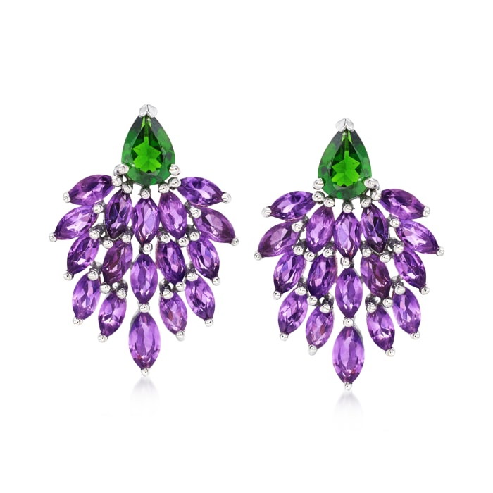 4.60 ct. t.w. Amethyst and 1.20 ct. t.w. Green Chrome Diopside Drop Earrings in Sterling Silver
