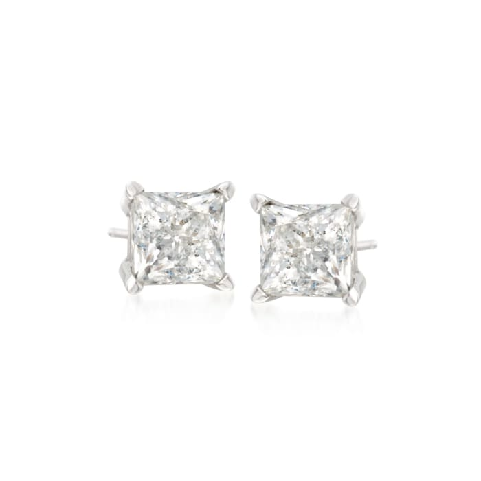 1.00 ct. t.w. Princess-Cut Diamond Stud Earrings in 14kt White Gold