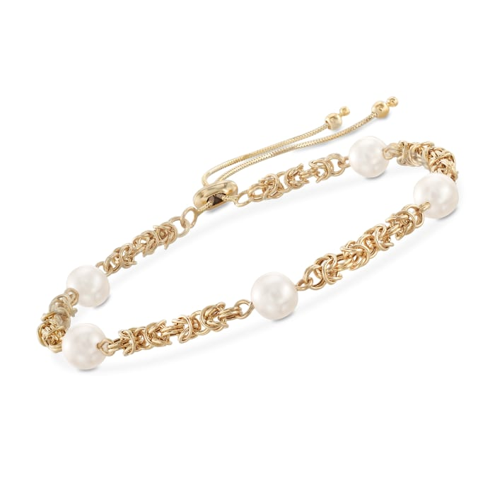 7mm Cultured Pearl Byzantine Link Bolo Bracelet in 14kt Yellow Gold