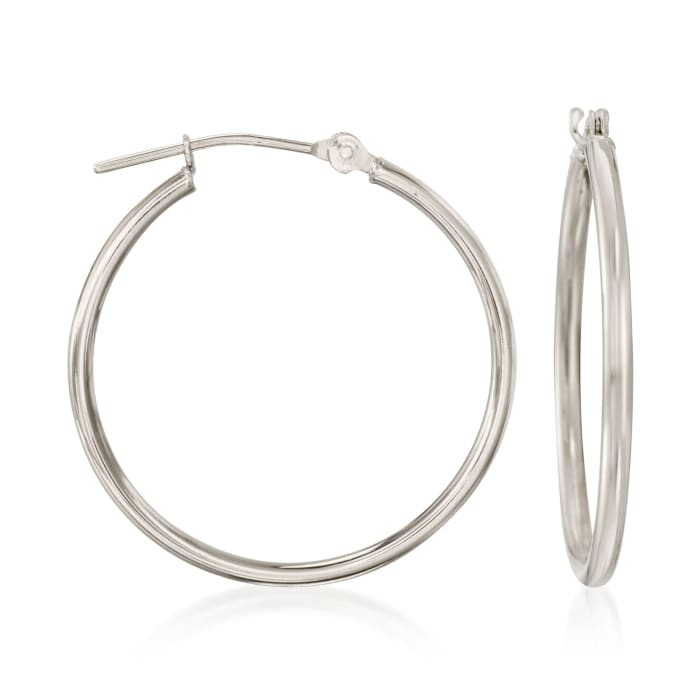 1.5mm 14kt White Gold Hoop Earrings
