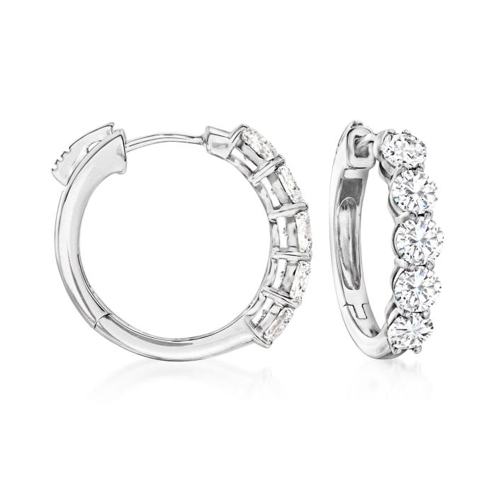 2.00 ct. t.w. Diamond Five-Stone Hoop Earrings in 14kt White Gold