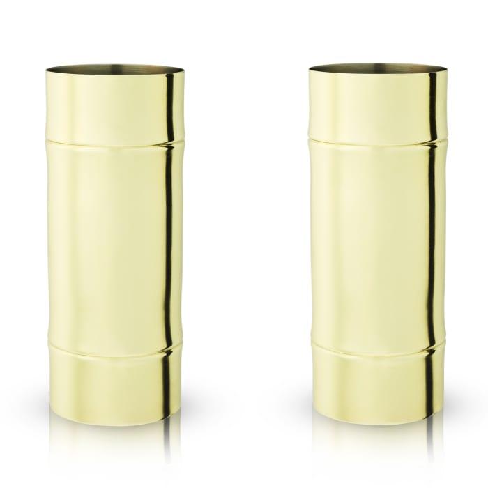 Set of 2 Stainless Steel Bamboo Highball Glasses