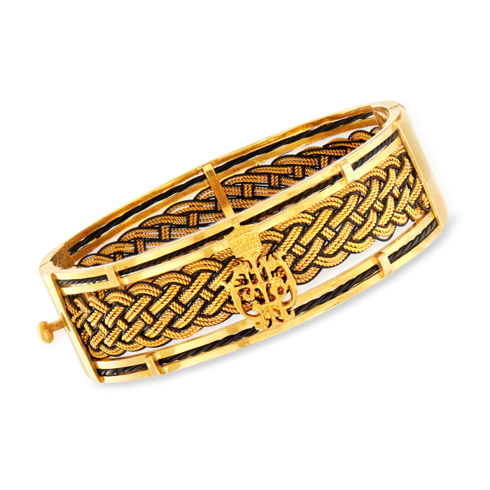 C. 1980 Vintage 18kt Yellow Gold and Black Leather Braided Bangle Bracelet