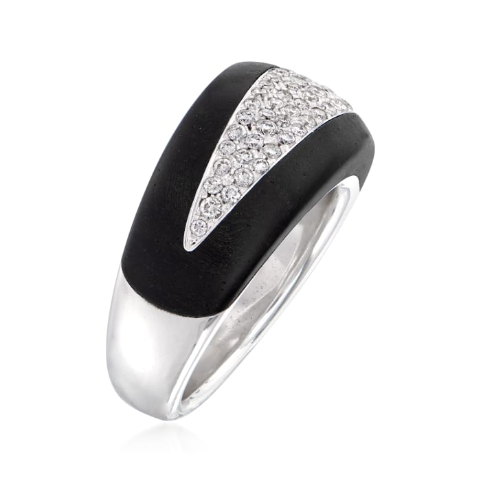 C. 1990 Vintage Bucherer .41 ct. t.w. Diamond and Carved Wood Ring in 18kt White Gold