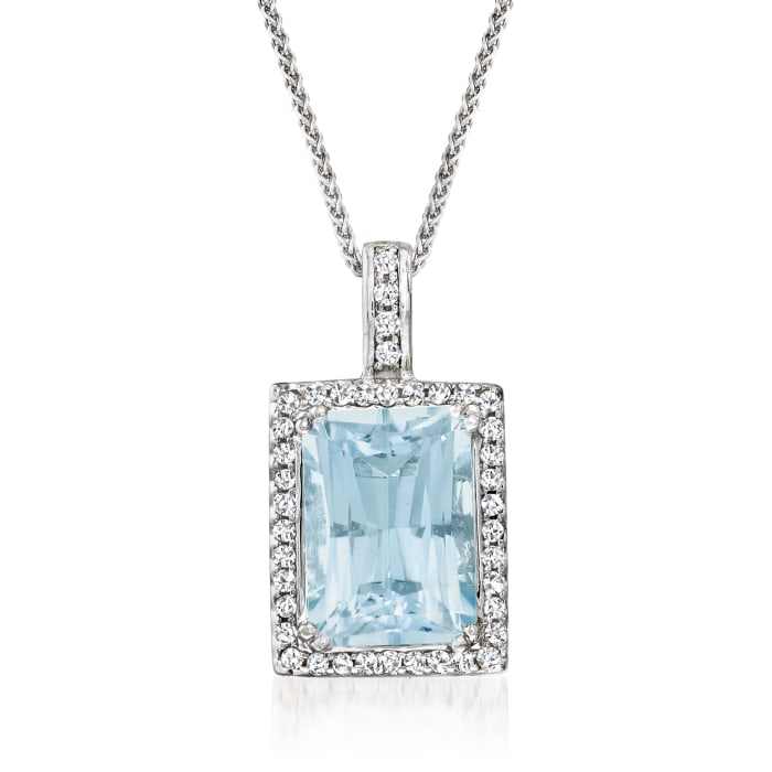 15.00 Carat Aquamarine and .25 ct. t.w. Diamond Frame Pendant Necklace in 14kt White Gold