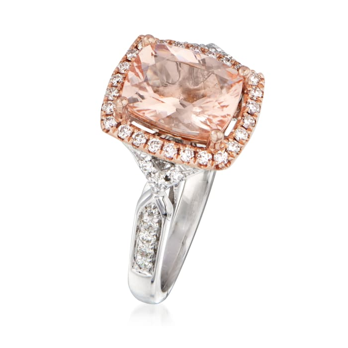 1.70 Carat Morganite and .30 ct. t.w. Diamond Ring in 14kt Two-Tone Gold