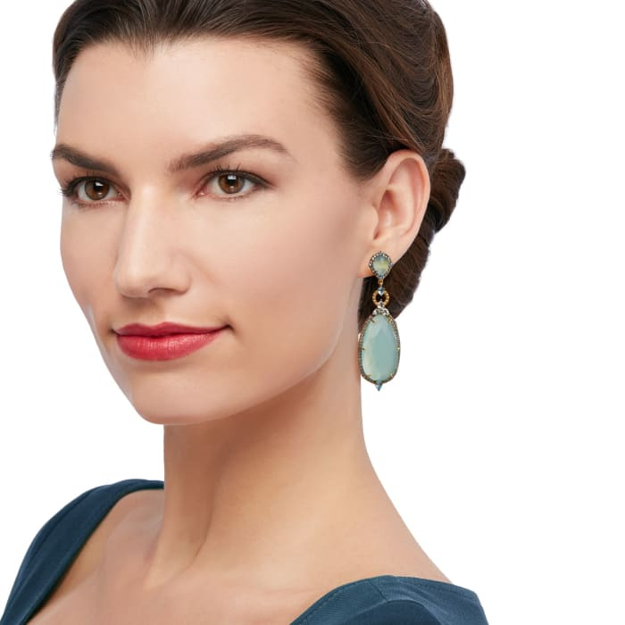 Aqua Chalcedony and 2.60 ct. t.w. Blue and White Topaz Drop Earrings in 18kt Gold Over Sterling