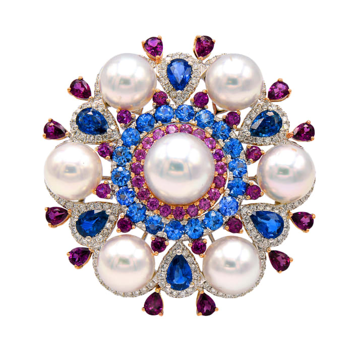 Cultured South Sea Pearl and 19.05 Multi-Gemstone Pin/Pendant with 1.15 ct. t.w. Diamond in 18kt Two-Tone Gold