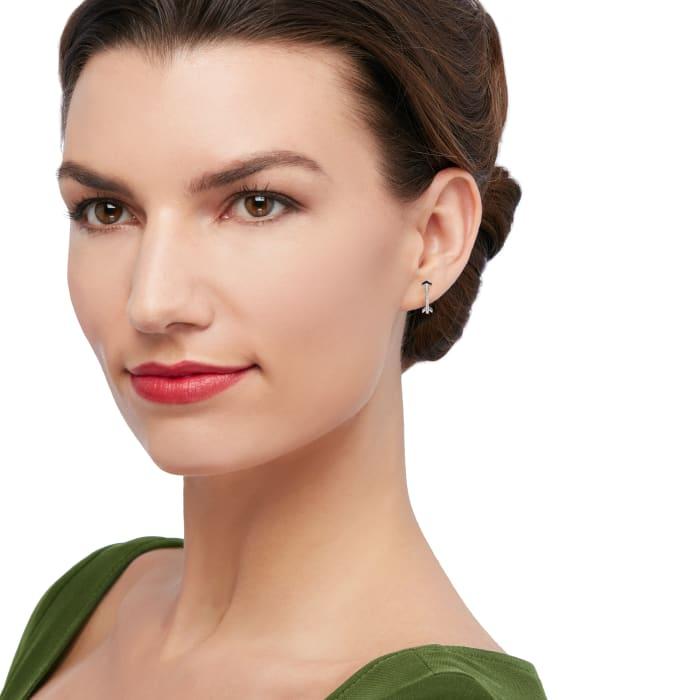 .10 ct. t.w. Diamond Arrow Earrings in 14kt White Gold