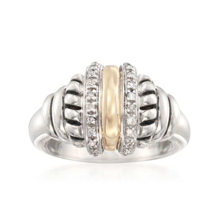 .10 ct. t.w. Diamond Ring in 14kt Yellow Gold and Sterling Silver