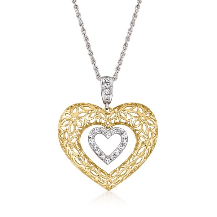 .25 ct. t.w. Diamond Floral Filigree Double-Heart Pendant Necklace in Sterling Silver and 18kt Gold Over Sterling