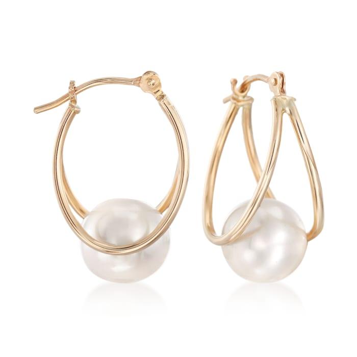 8-9mm Cultured Pearl Double-Hoop Earrings in 14kt Yellow Gold