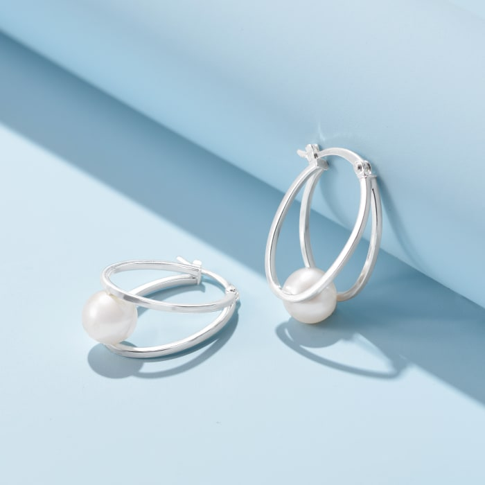 8-9mm Cultured Pearl Double-Hoop Earrings in Sterling Silver