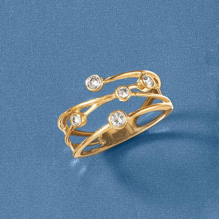 .25 ct. t.w. Bezel-Set Diamond Crisscross Ring in 14kt Yellow Gold