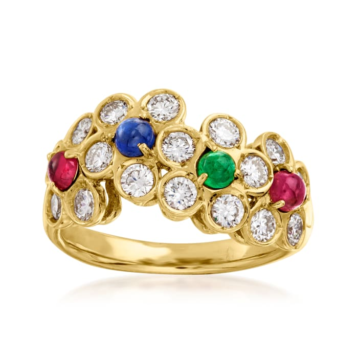 C. 1990 Vintage Dior .60 ct. t.w. Diamond and .47 ct. t.w. Multi-Gem Floral Ring in 18kt Yellow Gold