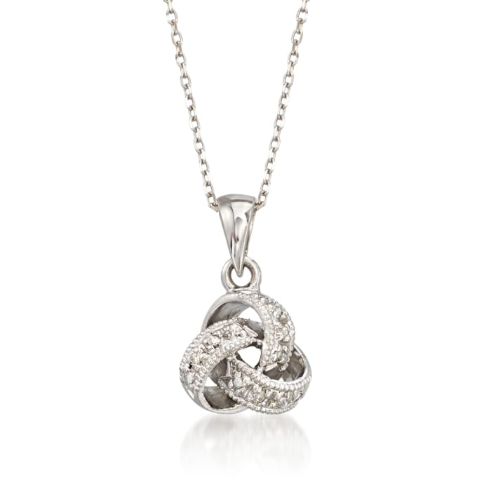 Diamond Accent Love Knot Pendant Necklace in 14kt White Gold