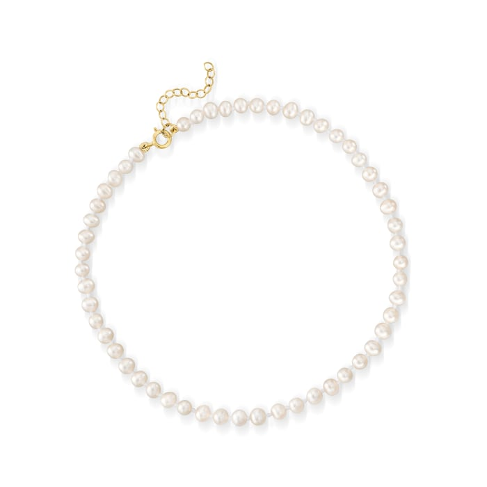 4-4.5mm Cultured Pearl Anklet with 14kt Yellow Gold