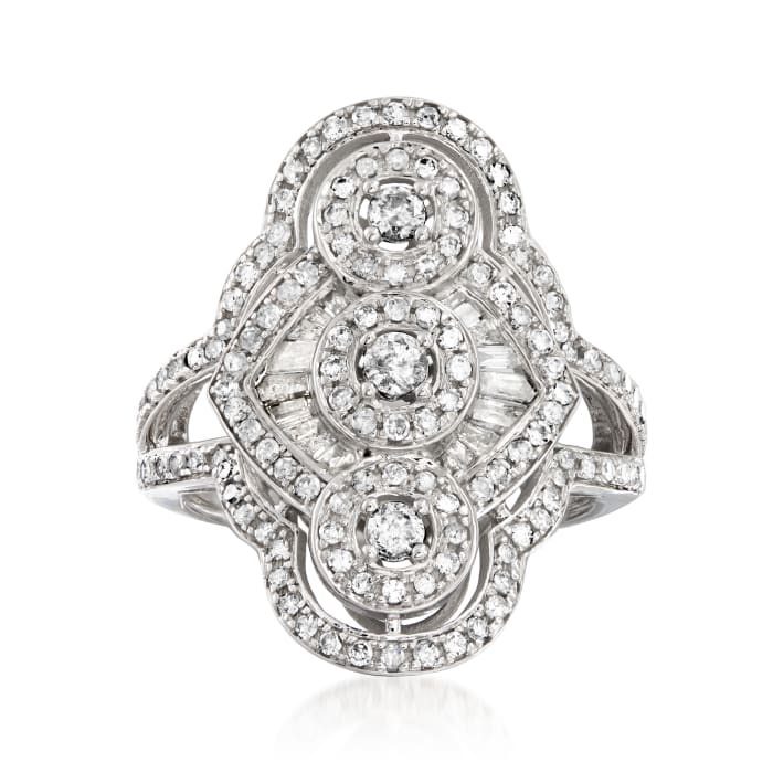 1.00 ct. t.w. Diamond Vintage-Style Ring in 14kt White Gold