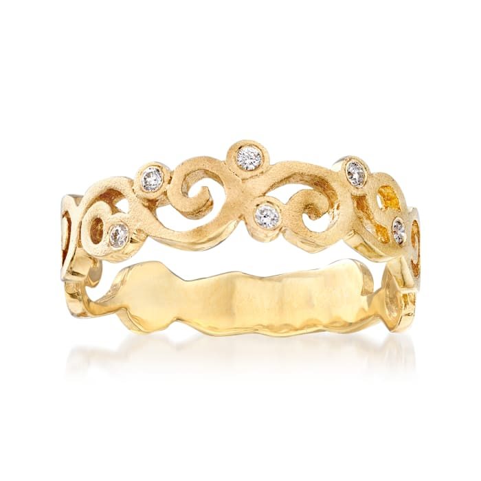 14kt Yellow Gold Spiral Ring with Diamond Accents