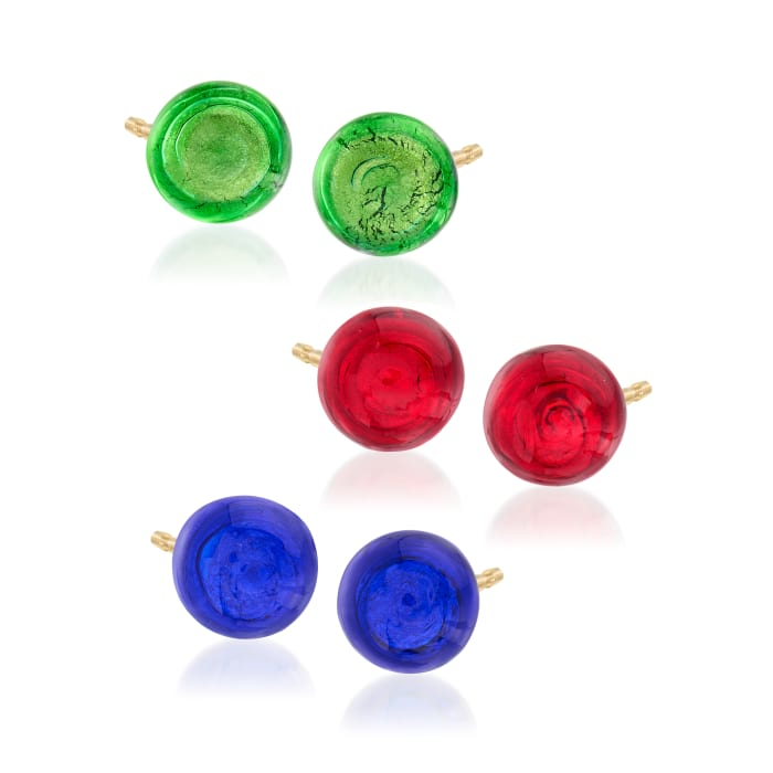 Italian Multicolored Murano Glass Bead Jewelry Set: Three Pairs of Stud Earrings in 18kt Yellow Gold Over Sterling Silver
