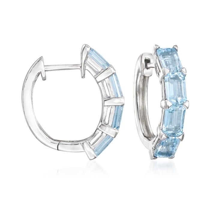 4.00 ct. t.w. Aquamarine Hoop Earrings in Sterling Silver