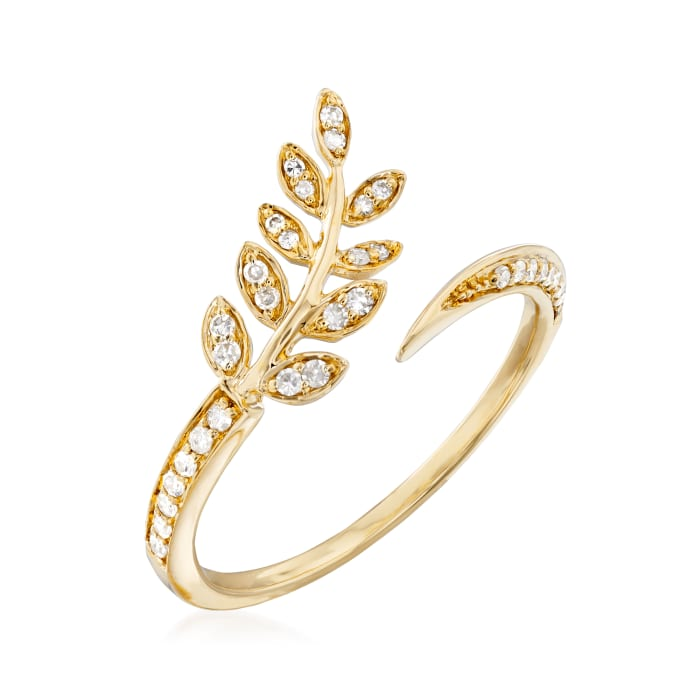 .13 ct. t.w. Diamond Leaf Bypass Ring in 14kt Yellow Gold