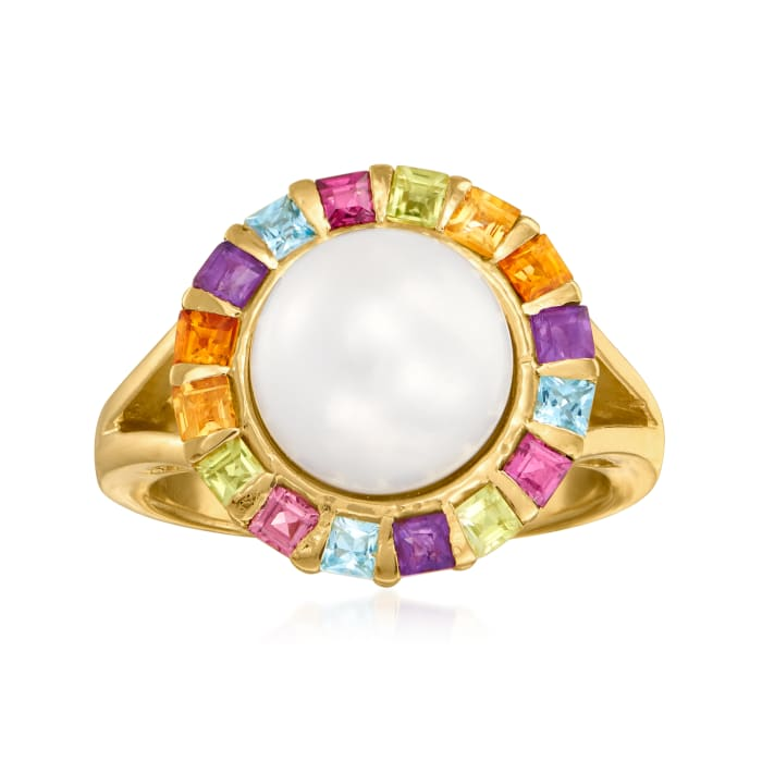 11mm Cultured Pearl and .50 ct. t.w. Multi-Gemstone Ring in 18kt Gold Over Sterling