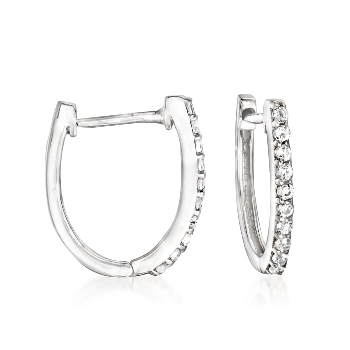 10mm Cultured Pearl and .40 ct. t.w. White Topaz Removable Hoop Drop Earrings in Sterling Silver