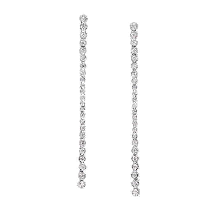 .79 ct. t.w. Bezel-Set Diamond Linear Drop Earrings in 18kt White Gold