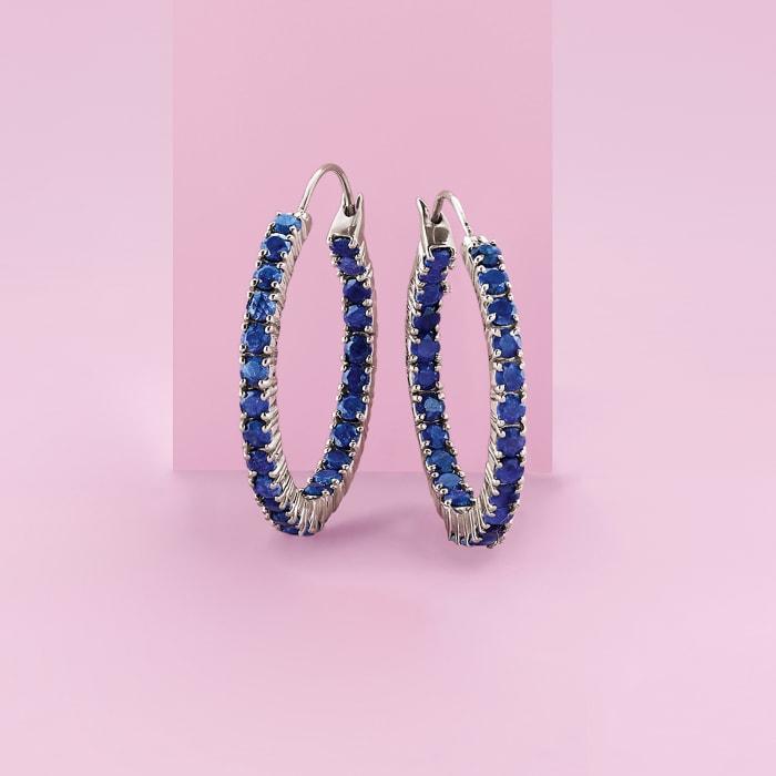 6.00 ct. t.w. Sapphire Inside-Outside Hoop Earrings in Sterling Silver
