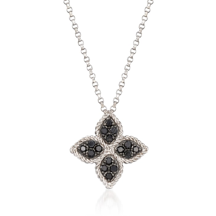 """Roberto Coin """"Princess Flower"""" .38 ct. t.w. Black and White Diamond Flower Pendant Necklace in 18kt White Gold"""