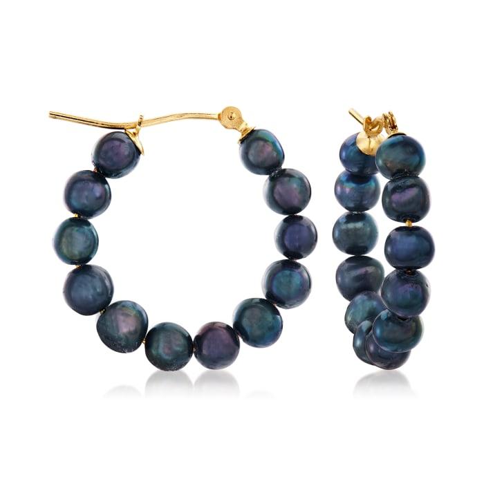 4-5mm Black Cultured Pearl Hoop Earrings in 14kt Yellow Gold