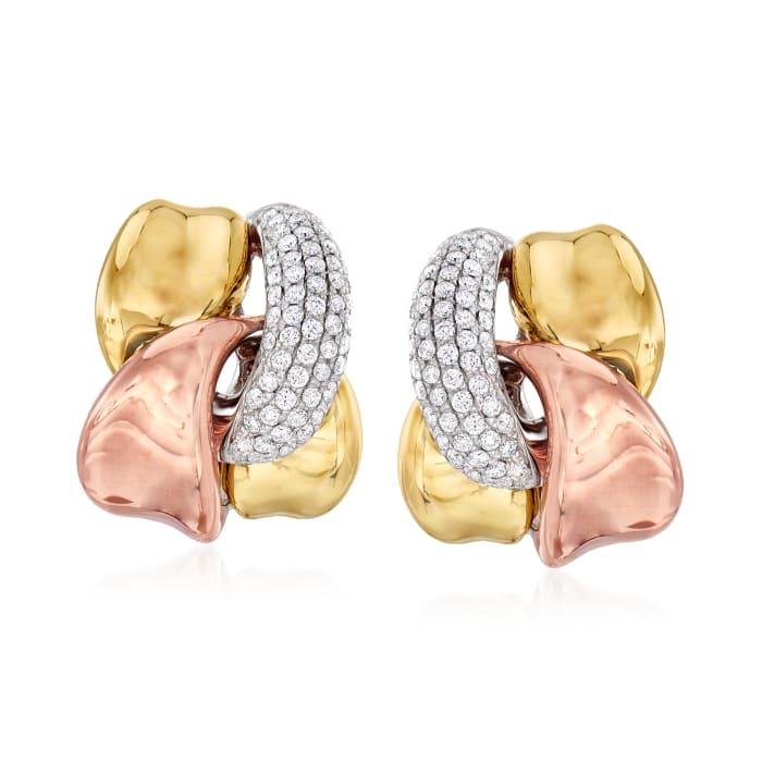1.15 ct. t.w. Diamond Interlocking Twist Earrings in 14kt Tri-Colored Gold