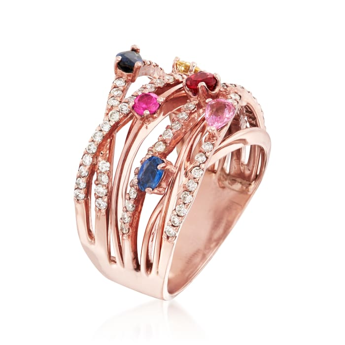 1.25 ct. t.w. Multi-Gem and .63 ct. t.w. Diamond Highway Ring in 14kt Rose Gold